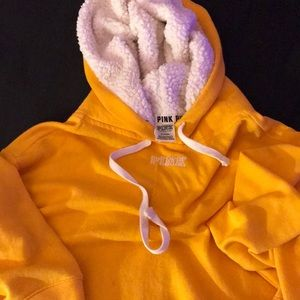 Oversized Yellow Pink Hoodie with Sherpa.